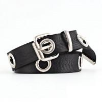 Nylon Hollow Vintage Style Buckle Belt - Black