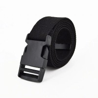 Press Buckle Nylon Canvas Casual Wear Belt - Black