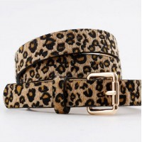 Leopard Prints Furry Fashion Wear Buckle Belt - Brown leopard