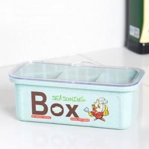 Three Portion Plastic Spices Storage Box