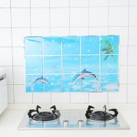 Digital Prints Adhesive Kitchen Oil Resistant Sheet - Dolphins