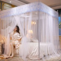 Lace Net Bedroom Boarded Anti Dust And Mosquito Luxury Bed Tent Cover - White