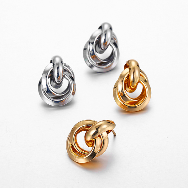Spiral Silver Plated Ear Tops Pair