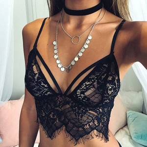 Slim Fashion Sexy Harness Hollow Lace Bra Lingerie