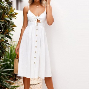 Sleeveless Midi Button Up Twist Bust Dress - White