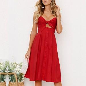 Sleeveless Midi Button Up Twist Bust Dress - Red