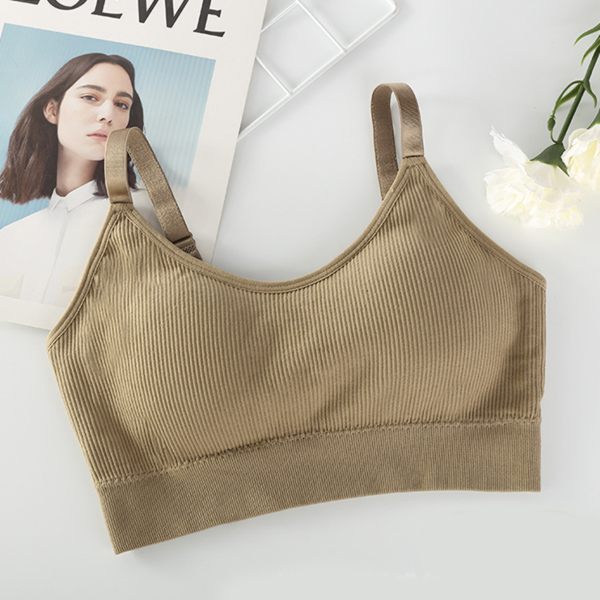 Adjustable Strap Ribbed Breathable Sports Bra - Khaki