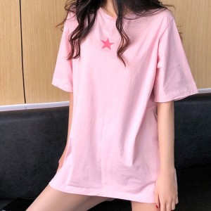 Round Neck Plain Solid Color Loose T-Shirt - Pink