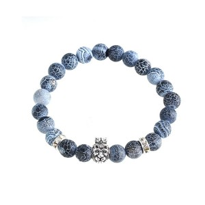 Natural Lava Rock Round Grain Blue Bracelet For Men