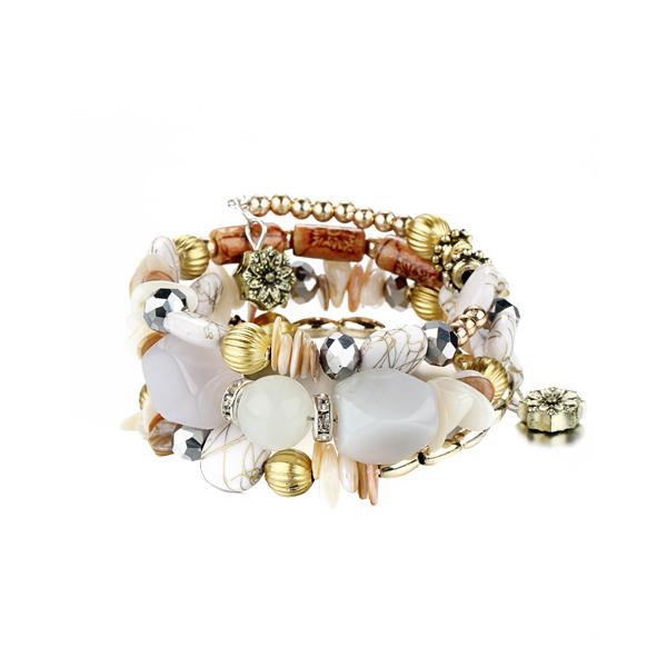 Bohemian Retro Beads Alloy Acrylic Bracelets White
