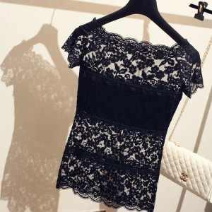 Designers Wear Wide Neck Lace Top - Black