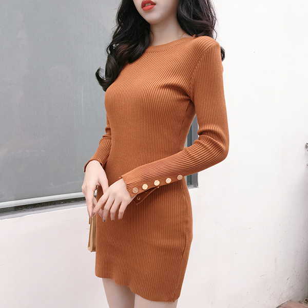 Button Decorative Long Sleeved Mini Dress - Brown