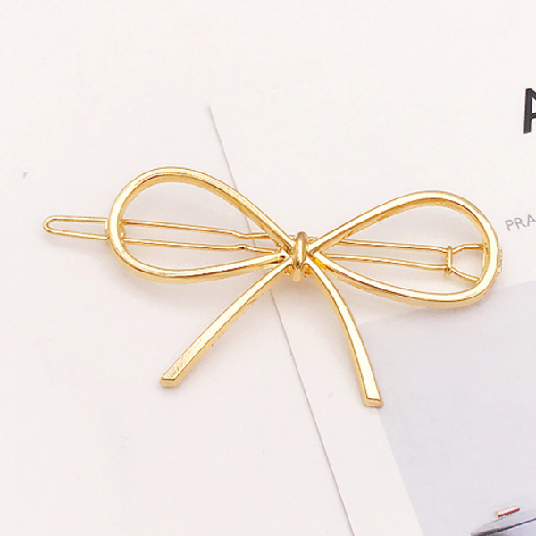 Comfortable Gold Plated Hair Clip - Bow
