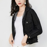 Short Fitted Shirt Collar Denim Female Jackets - Black