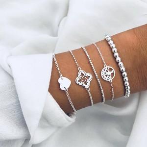 Chain Silver Plated Five Pieces Bracelets