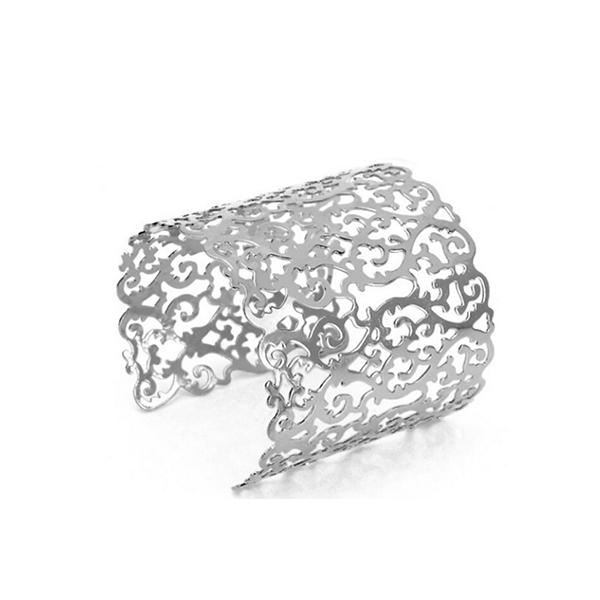 Women Fashion Vintage Simple Geometrical Metal Bracelet Silver