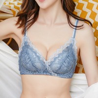Wavy Laced Up Textured Floral Women Intimate Bra - Blue