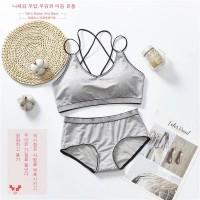 Cross Back Sports Wear Two Pieces Lingerie Set - Gray