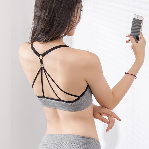 One Pieces Back Strap Sports Wear Summer Bra - Grey