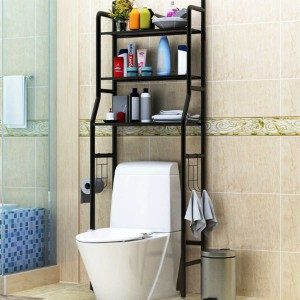 Multipurpose Smart Bathroom Metal Rack - Black
