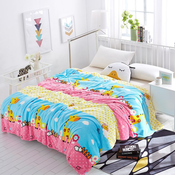 Cartoon Prints Silky Thin Quality Blanket - Multicolor