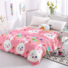 Rabbit Prints Silky Thin Quality Blanket - Pink
