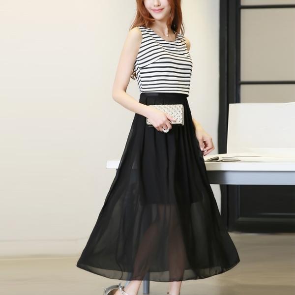 Round Neck Stripes Fake Two Piece Long Dress - Black