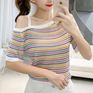 Colorful Stripes One Shoulder Summer T-Shirts - Multicolor
