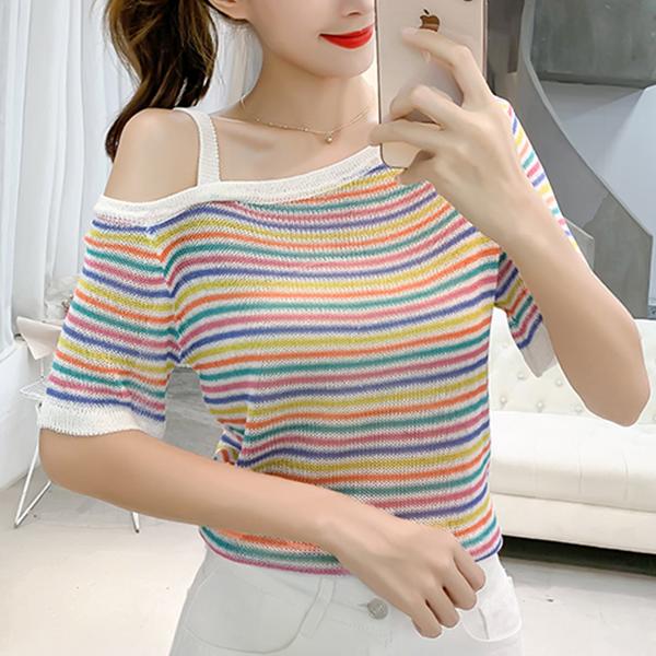 Colorful Stripes One Shoulder Summer T-Shirts - Multicolor