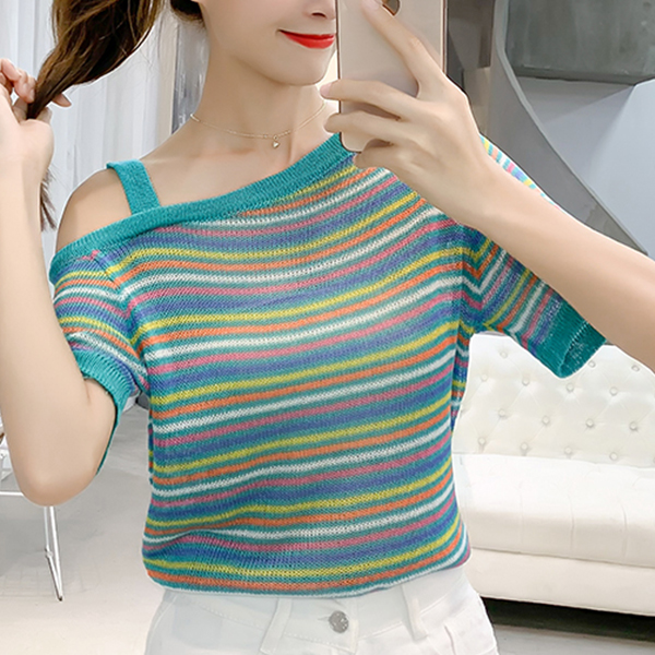 Colorful Stripes One Shoulder Summer T-Shirts - Green