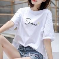 Summer Printed Cotton Round Neck T-Shirt - White