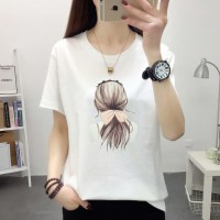 Girl Printed Cotton Round Neck T-Shirt - White