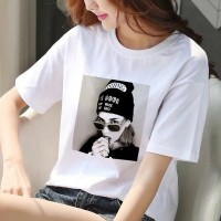 Fashion Women Printed Cotton Round Neck T-Shirt - White