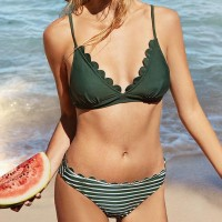 Two Pieces Bra Striped Underwear Summer Swimsuit - Green