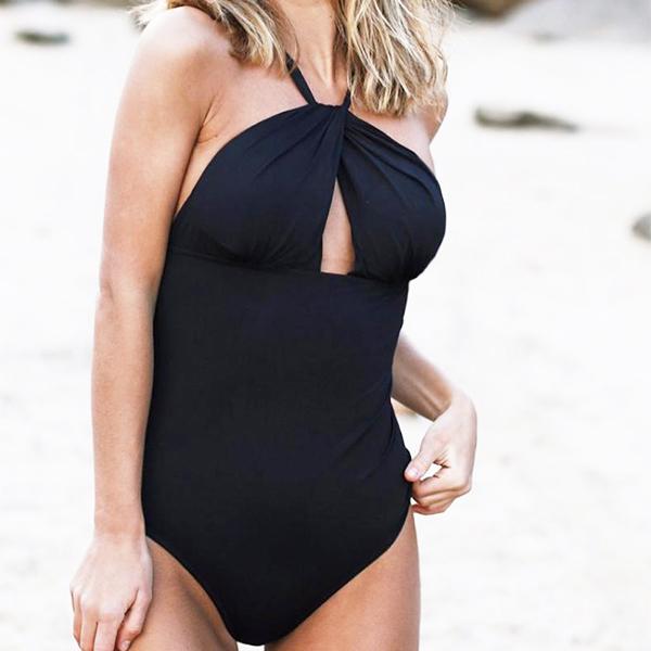 Solid Printed Slim Beach Swimwear Suit - Black