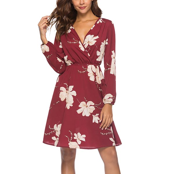 Floral Long Sleeve Summer Wear Chiffon Women Dress - Red