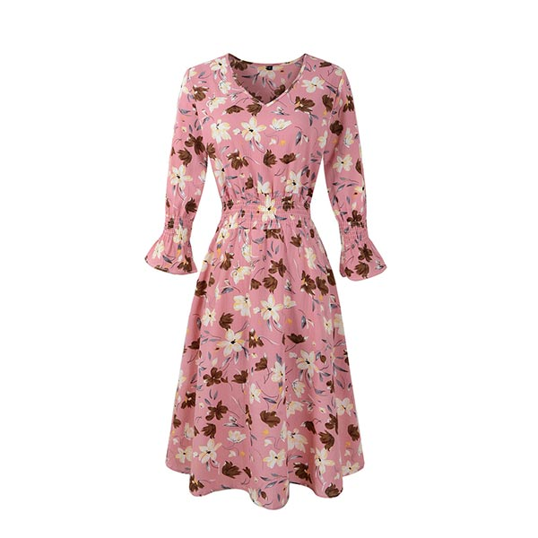 Floral Half Sleeve Mini V-neck Casual Women Dress - Pink