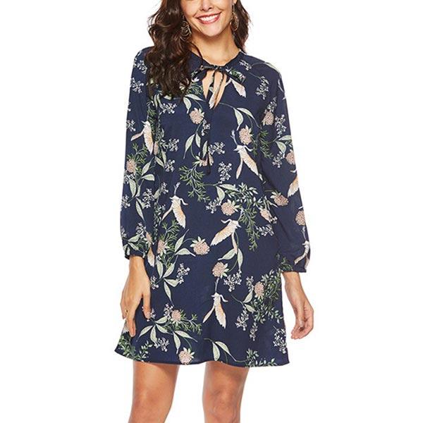 Chiffon Long Sleeve Floral Printed V-neck Bow Dresses - Blue