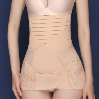 Multi Sides Velcro Strapped Bell Shaper Coreset - Apricot
