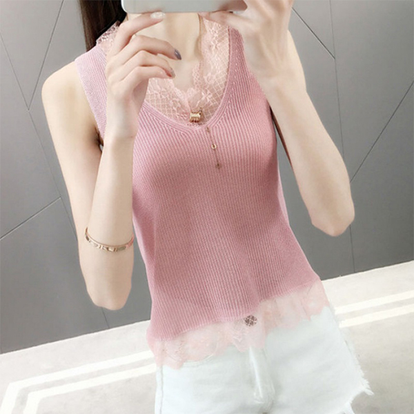 Lace Floral Summer Textured Sleeveless Blouse - Pink