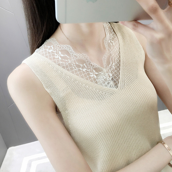Lace Floral Summer Textured Sleeveless Blouse - Yellow