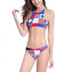 Flag Style Bikini Set Halter Crossback Beach Women Swimming Suit