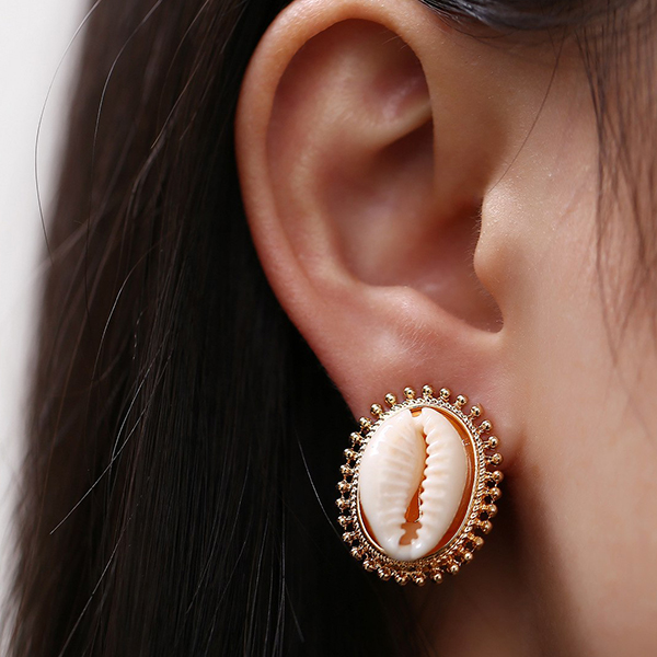 Creative Shell Shaped Cold Plated Boho Ear Tops