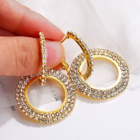 Crystal Decorated Wedding Earrings - Gold Plated