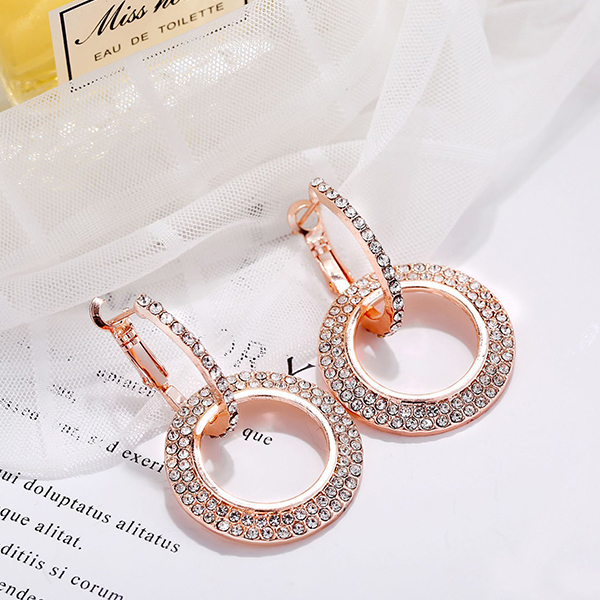 Crystal Decorated Wedding Earrings - Rose Gold Plated