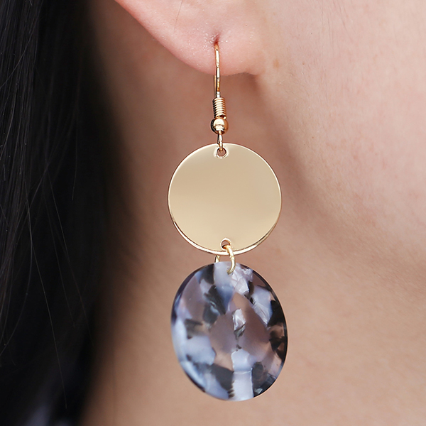 Gold Plated Rhinestone Hanging Ear Tops - Grey
