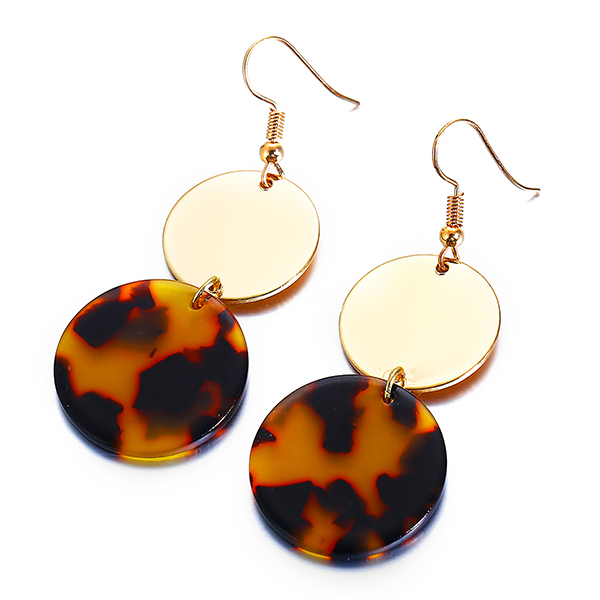 Gold Plated Rhinestone Hanging Ear Tops - Brown