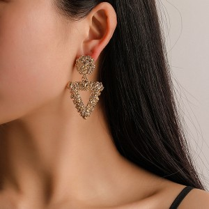 Triangle Shaped Frost Texture Earrings Pair - Golden
