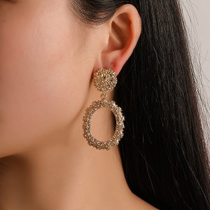 Textured Frost Gold Plated Earrings Pair
