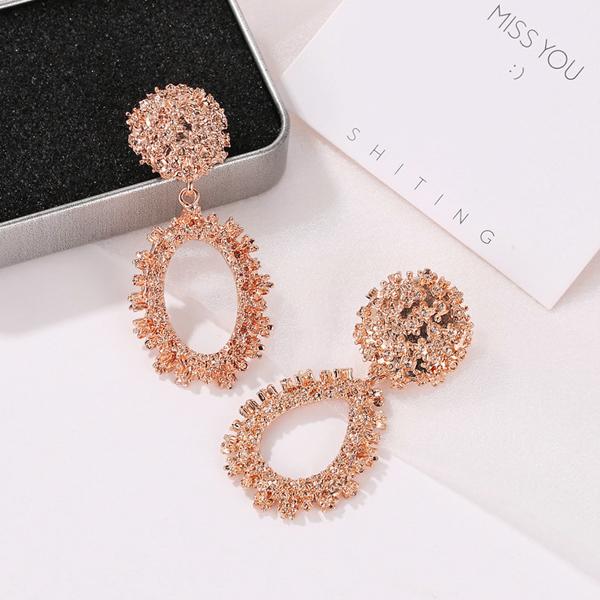 Retro Oval Shaped Frost Party Wear Earrings - Rose Golden